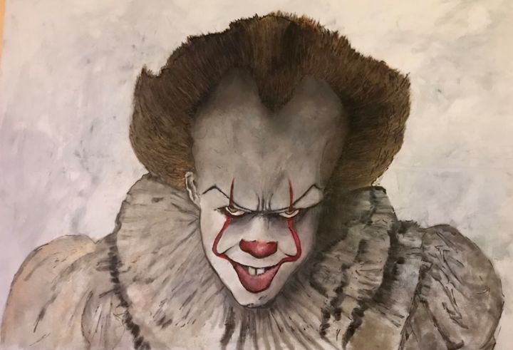 Pennywise from « it » the movie. - Painting,  75x115x2 cm ©2018 by John Von Brown -                                                                                                                                    Pop Art, Folk, Portraiture, Street Art (Urban Art), Canvas, Culture, Pop Culture / celebrity, People, Portraits, pennywise, it, Stephen King, clown, killer, pop art, street art, portrait, bill skarsgård