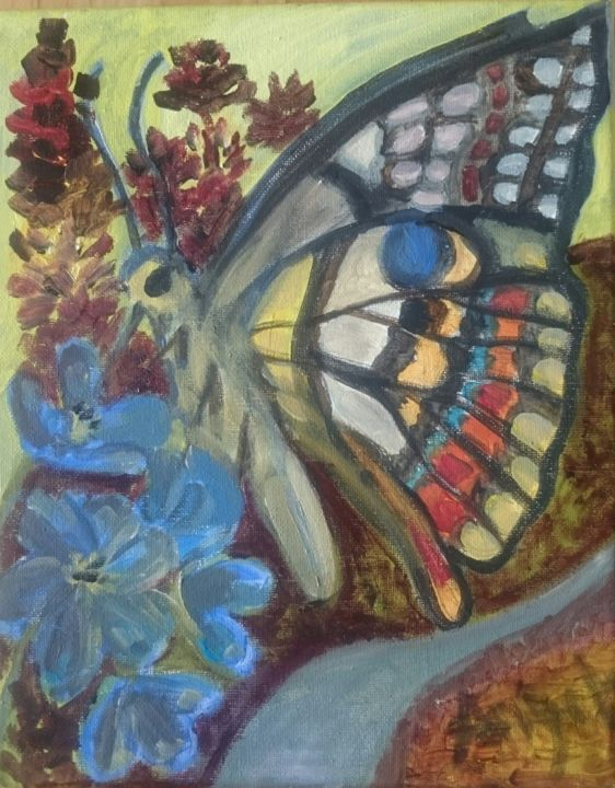 """Painting titled """"Butterfly during th…"""" by Angelė Drėgvienė, Original Art, Acrylic"""