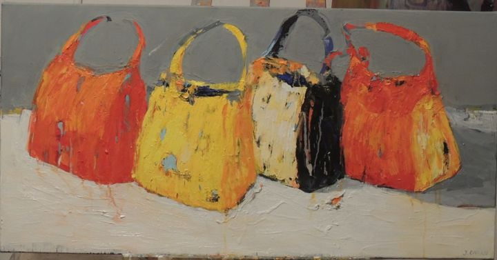 """Painting titled """"Cztery torby"""" by Jolanta Caban, Original Art, Oil"""