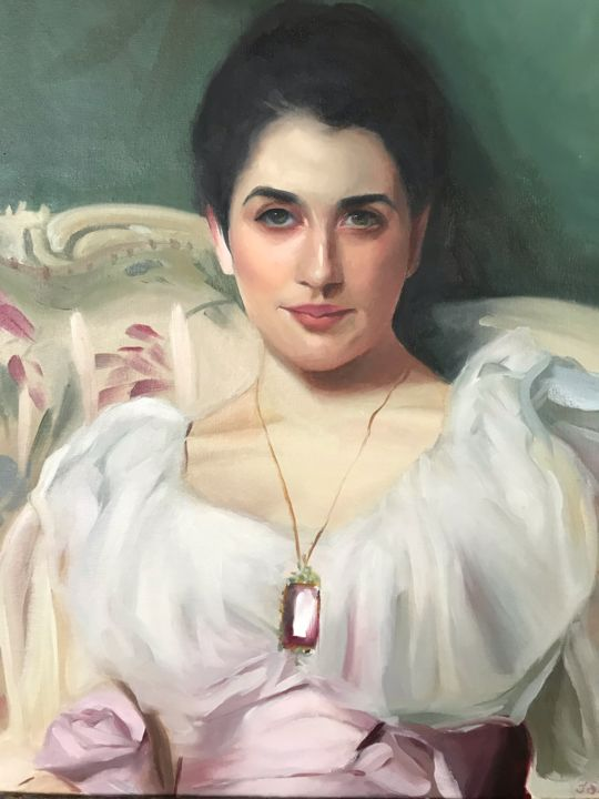 """Painting titled """"Detail of Lady Agnew"""" by Jolanta Limonada, Original Art, Oil"""