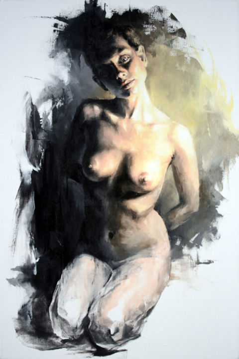 JK18-1120 Laura - Painting,  75x50x2 cm ©2018 by Jonas Kunickas -                                                                                                                                                                                                            Contemporary painting, Expressionism, Figurative Art, Portraiture, Realism, Canvas, Black and White, Body, Erotic, Health & Beauty, Light, Love / Romance, Nude, Portraits, Women, jonaskunickas, figurative, portrait, nudeportrait, gaze, beautifulface, beautifulbody, younglady, abstractpainting, nakedwoman