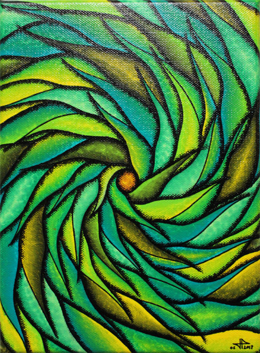 Spirale verdoyante - Painting,  24x18x1.7 cm ©2018 by Jonathan Pradillon -                                                                                                                                                            Abstract Art, Contemporary painting, Other, Wood, Cotton, Canvas, Vegetable, Abstract Art, Colors, Light, Spirituality, spirale, verdoyante, mouvement, formes, peinture, posca, tableau, moderne, contemporain, châssis
