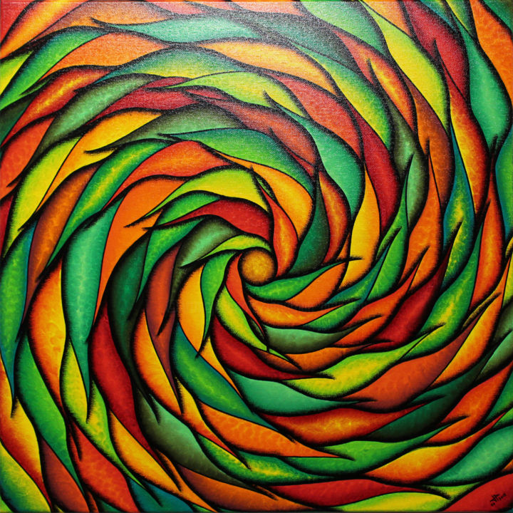 Spirale verdoyante et rougeoyante - Painting,  19.7x19.7x0.6 in, ©2018 by Jonathan Pradillon -                                                                                                                                                                                                                                                                                                                                                                                                                                                                                                                                                                                                                                                                                                                                                                                                                                                                                                                                                                                                          Abstract, abstract-570, Other, Wood, Cotton, Canvas, Vegetable, Abstract Art, Colors, Light, Spirituality, spirale, verdoyante, rougeoyante, colorée, formes, mouvement, abstrait, décoration, intérieure, maison