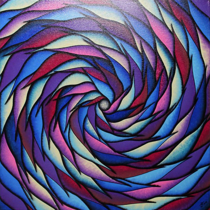 Spirale bleutée et violacée - Painting,  50x50x1.5 cm ©2018 by Jonathan Pradillon -                                                                                                                                                                                    Abstract Art, Abstract Expressionism, Contemporary painting, Symbolism, Other, Wood, Cotton, Canvas, Vegetable, Abstract Art, Colors, Light, Spirituality, peinture, moderne, spirale, bleutée, violacée, décoration, intérieure, maison, design, tableau, contemporain