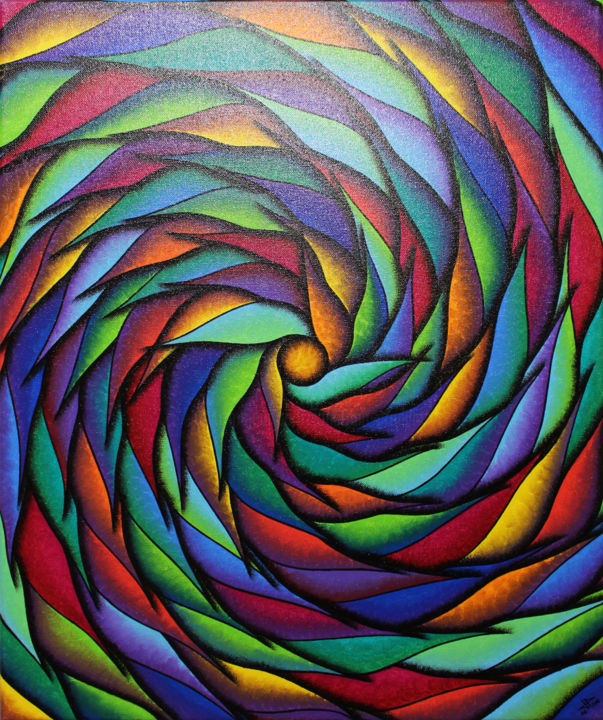 Spirale multicolore - Painting,  55x46x1.5 cm ©2018 by Jonathan Pradillon -                                                                                                                                                                        Abstract Art, Abstract Expressionism, Contemporary painting, Symbolism, Wood, Cotton, Canvas, Vegetable, Abstract Art, Colors, Light, Spirituality, peinture, contemporaine, posca, spirale, multicolore, mouvement, forme, œuvre, art, design