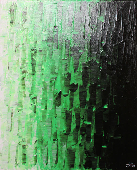 Fondu vert - Painting,  41x33x1.7 cm ©2018 by Jonathan Pradillon -                                                                                                                                    Abstract Art, Contemporary painting, Wood, Cotton, Canvas, Vegetable, Abstract Art, Colors, Light, peinture, contemporaine, acrylique, couteau, œuvre, art, fondu, vert, tableau, design