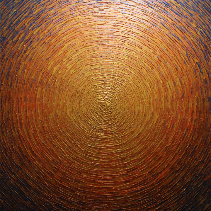 Grand éclat couleurs or orange 3 - Peinture,  31,5x31,5x1,6 in, ©2021 par Jonathan Pradillon -                                                                                                                                                                                                                                                                                                                                                                                                                                                                                                                                                                                                                                                                                                                                                                                                                                                                                                                                                                                                                                              Abstract, abstract-570, explosion, couleurs, éclat, or, orange, iridescent, tableau, relief, peinture, texture, matière, acrylique, œuvre, art, brillante, design, moderne, abstraite, contemporaine, motif