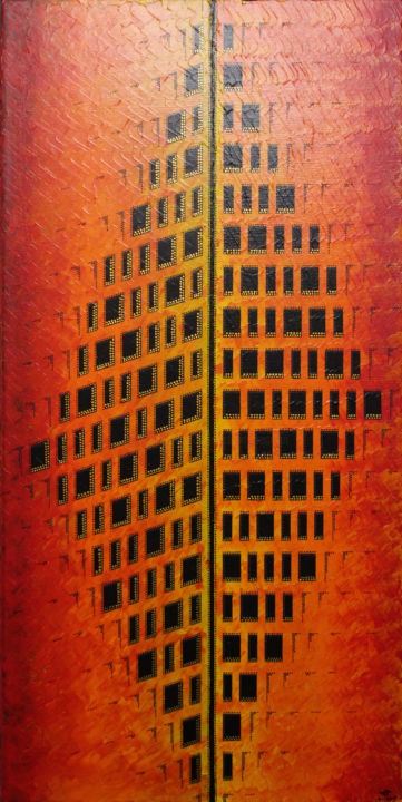 Façades - Painting,  23.6x11.8x0.8 in, ©2017 by Jonathan Pradillon -                                                                                                                                                                                                                                                                                                                                                                                                                                                                                                                                                                                                                                                                                                                                                                                                                                                                                                                                                                                                          Abstract, abstract-570, Other, Wood, Canvas, Vegetable, Architecture, Abstract Art, Colors, Men, Home, tableau, moderne, façades, art, abstrait, peinture, design, œuvre, contemporaine, urbanisation