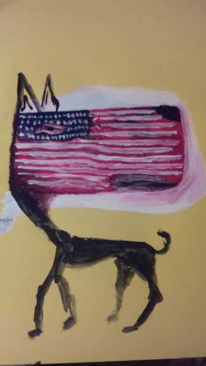 American dog - Painting ©2017 by Jonni Ekdahl -                                                            Abstract Expressionism, Paper, Abstract Art, american, dog