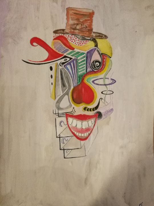 A clown in pieces. - Painting ©2018 by Jonni Ekdahl -                                            Surrealism, Paper, clown