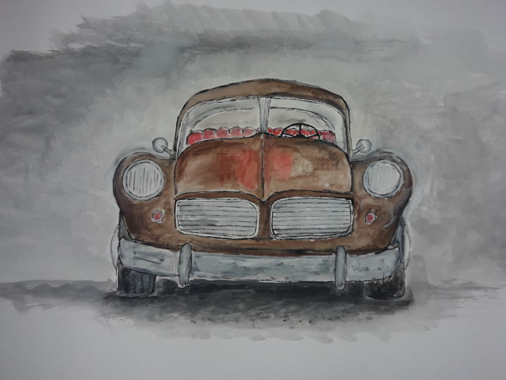 Old brown car. - Painting ©2019 by Jonni Ekdahl -                                            Documentary, Paper, old, brown, car