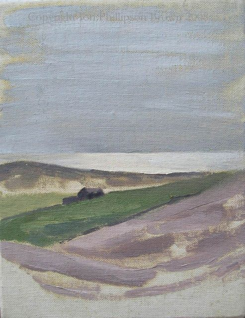 """View towards the sea - Painting,  9.1x6.7 in, ©1994 by Jon Phillipson Brown -                                                                                                                                                                                                                                                                                                                                                                                                                                                                                                                                                                                                                                                                                                                                                                                                                                                                                                                                  landscape, hills, mountains, view, vista, asturias, spain, Asturias, Spain, Sariego, sky, clouds, """"spirit of the mass"""", """"David Bomberg"""", distance, space, form, mass, perspective, background"""