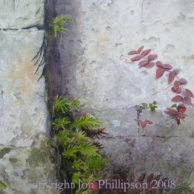 Chapel wall - Painting,  47.2x47.2 in, ©2008 by Jon Phillipson Brown -                                                              Ferns emerge from shadow into sunlight while ivy creeps across the crumbling surface of an old chapel's wall.
