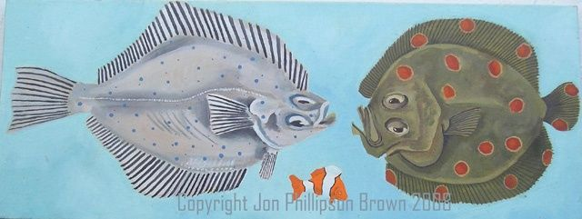 Tres peces - Painting,  11.4x29.9 in, ©1994 by Jon Phillipson Brown -