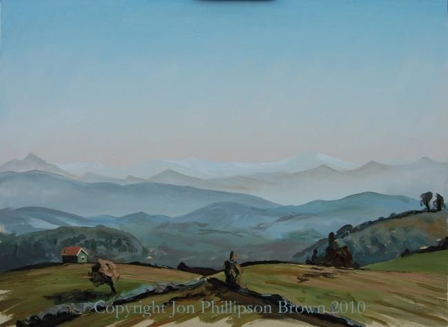 "View towards the Cordillera Cantábrica from Siero - Painting,  21.3x28.7 in, ©2010 by Jon Phillipson Brown -                                                                                                                                                                                                                                                                                                                                                                                                                                                                                                                                                                                                                                                                                                                                                                                                                                                                                                                                  landscape, hills, mountains, view, vista, asturias, spain, Asturias, Spain, Sariego, sky, clouds, ""spirit of the mass"", ""David Bomberg"", distance, space, form, mass, perspective, background"