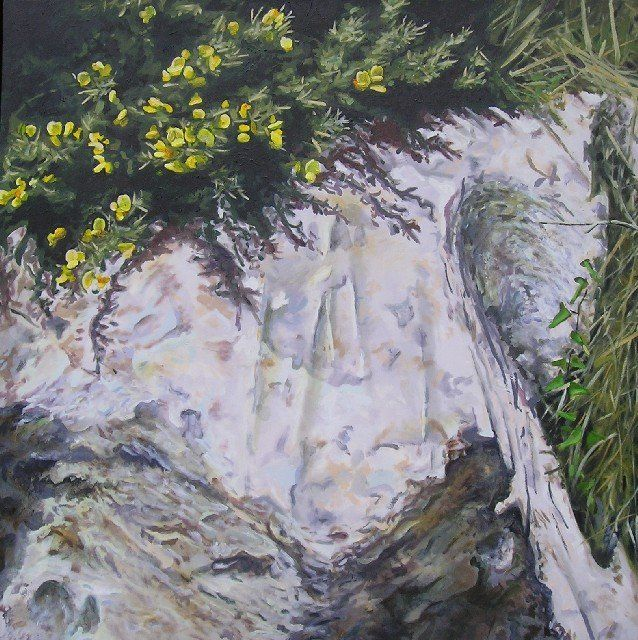 """Gorse and Rocks - Painting,  47.2x47.2 in, ©2010 by Jon Phillipson Brown -                                                                                                                                                                                                                                                                                                                                                                                                                                                                                                                                                                                                                                                                                                                                                                      Figurative, figurative-594, Oil Painting by Jon Phillipson Brown, jon phillipson brown, """"jon phillipson brown"""", """"jon phillipson"""", Jon, Phillipson, Brown, """"Jon Phillipson Brown"""", """"Jon Phillipson"""", john, John, """"John Phillipson Brown"""", """"john phillipson brown"""", """"painting by Jon Phillips"""