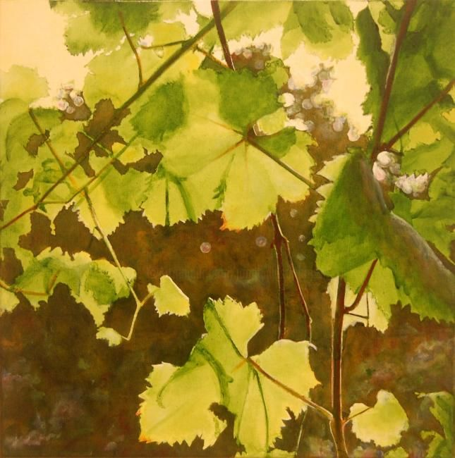 Vine leaves - Painting,  19.7x19.7 in, ©2010 by Jon Phillipson Brown -                                                              An Oil Painting by Jon Phillipson Brown August 2010 50 x 50cm