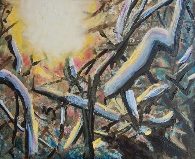 The Winter Sun - Painting,  19.7x23.6 in, ©2010 by Jon Phillipson Brown -                                                              The winter sun blazes through the snow-laden branches of the trees in the orchard