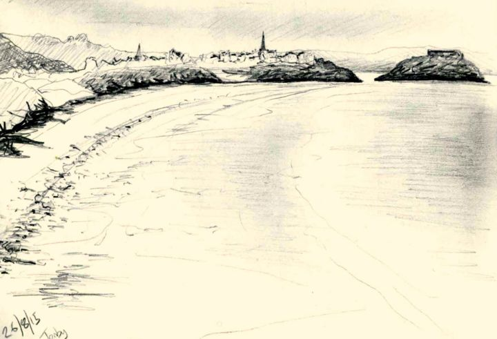 Tenby - Drawing, ©2015 by Jon Phillipson Brown -