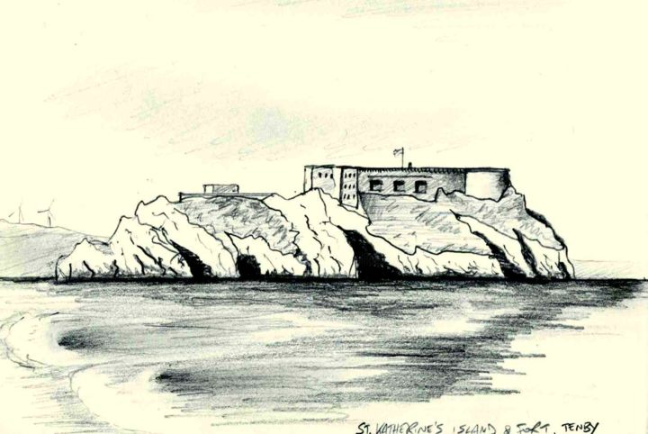 St. Katherine's Island & Fort - Drawing, ©2015 by Jon Phillipson Brown -