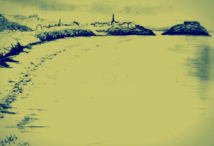 Tenby with effects - Drawing, ©2015 by Jon Phillipson Brown -