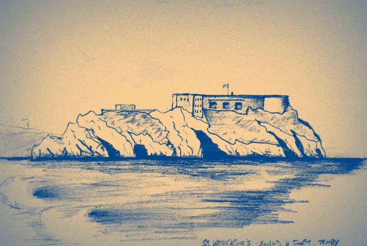 St. Katherine's Island & Fort, Tenby - Drawing ©2015 by Jon Phillipson Brown -            fort, coastal defence, Tenby, Wales