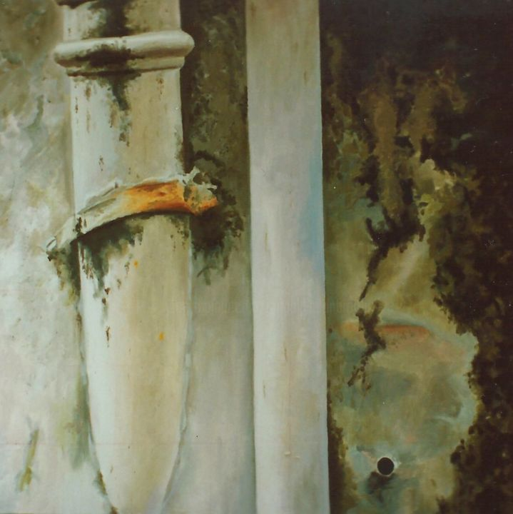 Drainpipes - Painting,  39.4x39.4 in, ©1995 by Jon Phillipson Brown -