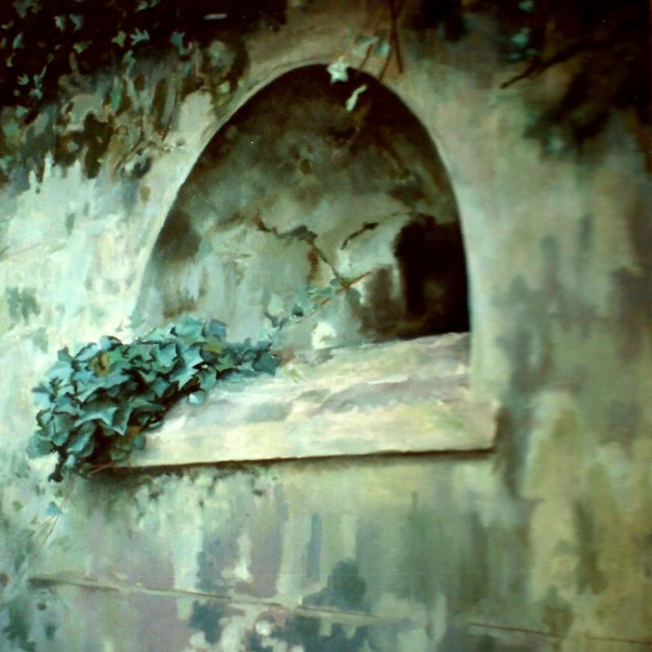 Railway Wall - Painting,  39.4x39.4 in, ©1994 by Jon Phillipson Brown -