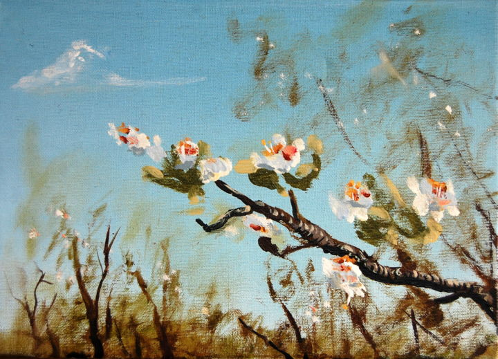 Blosssom 8 - Painting,  9.8x13.8 in, ©2012 by Jon Phillipson Brown -