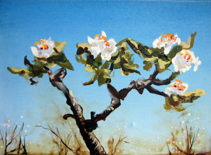 Blossom 9 - Painting,  9.8x13.8 in, ©2016 by Jon Phillipson Brown -