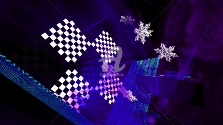 """Digital Arts titled """"Squares And Snowfla…"""" by Holly Jonson, Original Art, 3D Modeling"""