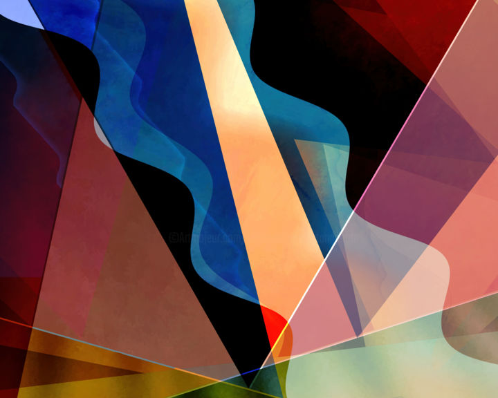 Theater District - Digital Arts, ©2019 by Jon Woodhams -                                                                                                                                                                                                                                                                                                                                                                                                                                                                                                                                                                                                                                                                                                                                                                                                                                                                                                                                                                                                                                                                                              Abstract, abstract-570, Abstract Art, Geometric, abstract, abstract art, digital abstract art, abstract digital art, digital art, woodhams, jon woodhams, modern art, contemporary art, even better on your wall, red, black, blue, green, rust, purple, geometric, inspired by new york, triangles