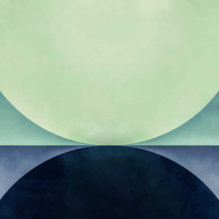 Umbra - Digital Arts, ©2018 by Jon Woodhams -                                                                                                                                                                                                                                                                                                                                                                                                                                                                                                                                                                                                                                                                                                                                                                                                                                                                                                                                                                                                                                                                                              Abstract, abstract-570, Abstract Art, celadon, green, blue, navy blue, moon, orb, orbs, circles, umbra, shadow, abstract, abstract art, minimalist, minimalism, digital art, modern art, contemporary art, square format, even better on your wall, woodhams