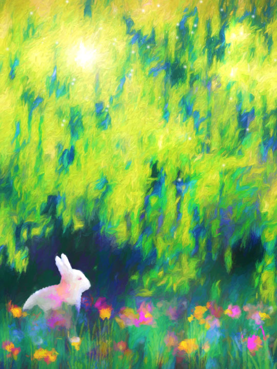 Bunny beneath the Willow Tree - Digital Arts, ©2018 by Jon Woodhams -                                                                                                                                                                                                                                                                                                                                                                                                                                                                                                                                                                                                                                                                                                                                                                                                                                                                                                                                                                                                                                                                                                                                                                                      Abstract, abstract-570, Animals, Garden, Nature, bunny, bunnies, bunny rabbit, lapin, whimsical, digital art, impressionism, impressionist, willow tree, rabbit, digital abstract, digital impressionism, white rabbit, willow, flowers, garden, childrens art, woodhams, jon woodhams, even better on your wall