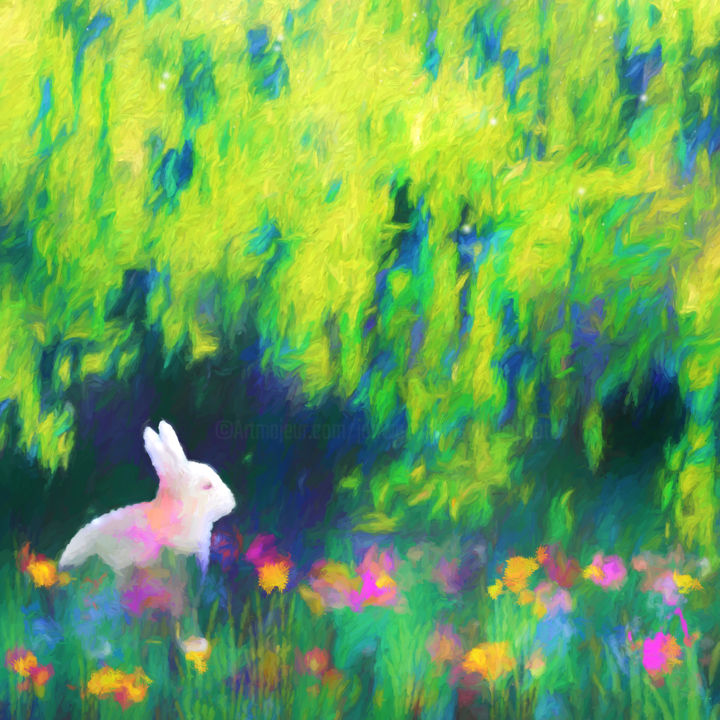 Bunny beneath the Willow Tree (Square) - Digital Arts, ©2018 by Jon Woodhams -                                                                                                                                                                                                                                                                                                                                                                                                                                                                                                                                                                                                                                                                                                                                                                                                                                                                                                                                                                                                                                                                                                                                          Abstract, abstract-570, Animals, Landscape, bunny, bunnies, bunny rabbit, rabbit, rabbits, whimsical, digital art, impressionism, impressionist, impressionistic, willow tree, bunny art, rabbit art, digital impressionism, white rabbit, white bunny, willow, flowers, digital abstract art, even better on your wall