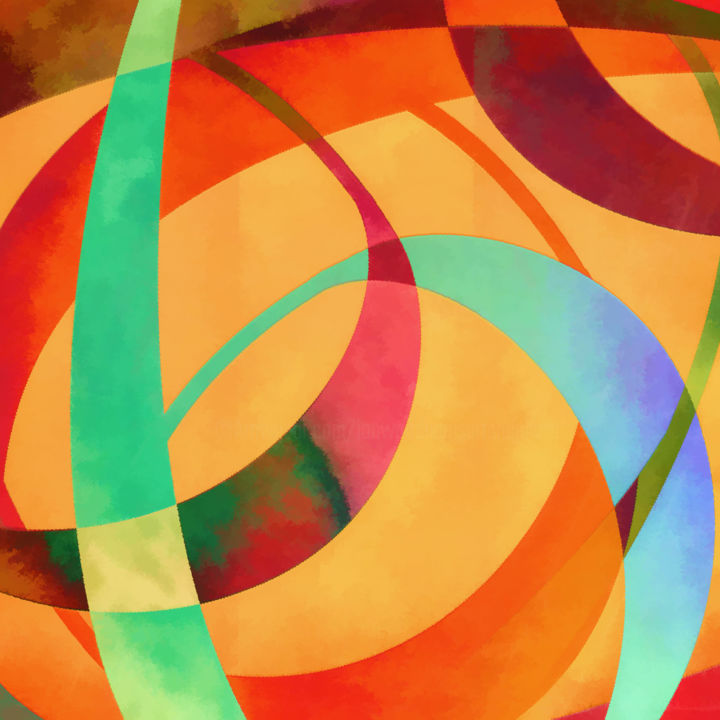 Swoop - Digital Arts, ©2018 by Jon Woodhams -                                                                                                                                                                                                                                                                                                                                                                                                                                                                                                                                                                                                                                                                                                                                                                                                                                                                                                                                                          Abstract, abstract-570, Abstract Art, orange, blue, green, red, abstract, abstract art, deep color, rich color, contours, jewel tones, jewel toned, woodhams, jon woodhams, swoops, swirls, whorls, even better on your wall