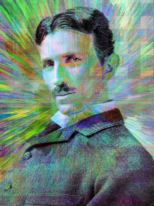 Electric Tesla - Digital Arts, ©2018 by Jon Woodhams -                                                                                                                                                                                                                                                                                                                                                                                                                                                                                                                                                                                                                                                                                                                                                                                                                                                                                                                                                                                                      Abstract, abstract-570, History, People, tesla, nikola tesla, pop art, popart, abstract art, digital art, famous people, historical figures, inventor, visionary, digital pop art, jon woodhams, woodhams, even better on your wall, rays, sunburst, green