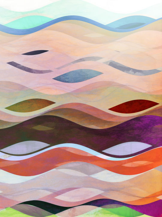 Undulations - Digital Arts, ©2019 by Jon Woodhams -                                                                                                                                                                                                                                                                                                                                                                                                                                                                                                                                                                                                                                                                                                                                                                                                                                                                                                                                                                                                                                                                                                                                                                                                                                                                              Abstract, abstract-570, Abstract Art, Geometric, Places, Seascape, Water, even better on your wall, blue, green, undulations, river, ocean, wave, repeated forms, red, purple, orange, abstract, abstract art, digital art, abstract digital art, digital abstract art, woodhams, jon woodhams, formes répétées, abstrait
