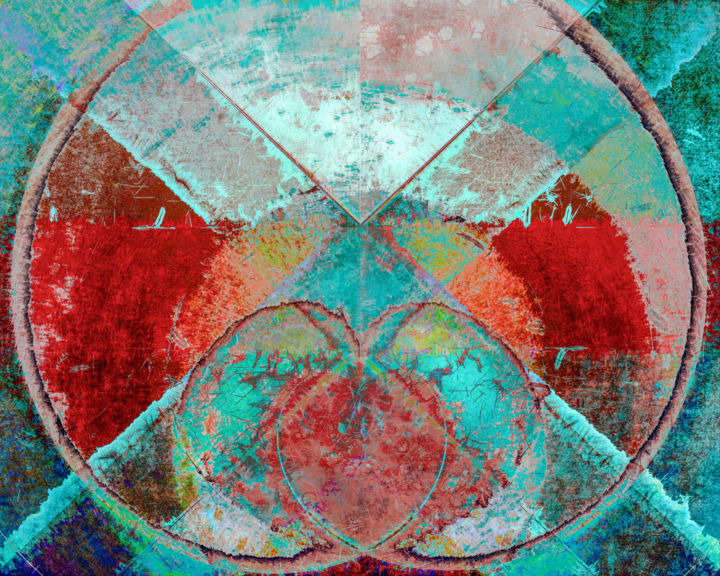 Cri de Coeur - Digital Arts, ©2020 by Jon Woodhams -                                                                                                                                                                                                                                                                                                                                                                                                                                                                                                                                                                                                                                                                                                                                                                                                                                                                                                                                                                                                                                                                                              Abstract, abstract-570, Abstract Art, Geometric, industrial, patina, verdigris, red, turquoise, scarlet, vermillion, iridescent, iridescence, heart, heart shape, texture, textures, abstract, grunge, woodhams, jon woodhams, even better on your wall, new media