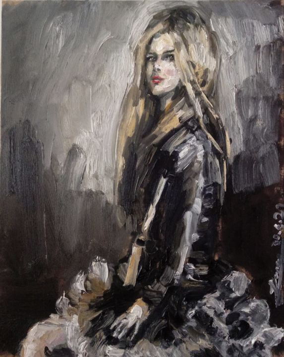 """Painting titled """"Avril"""" by Jorge Quiros, Original Art, Oil"""