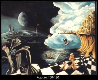 agouro - Painting,  39.4x59.1 in, ©1998 by Jorgemiguele -                                                                                                                          Surrealism, surrealism-627