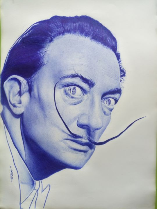 Salvadore Dalí - Drawing,  10x8x1 in, ©2019 by José Agube -                                                                                                                                                                          Hyperrealism, hyperrealism-612, Portraits