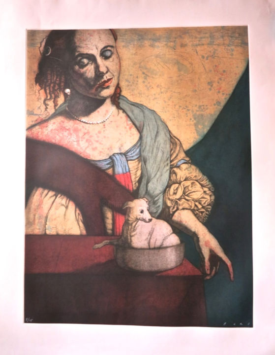 Main Course - Printmaking,  102x76 cm ©2000 by Jose Fors -                                            Symbolism, Dark-Fantasy, latin masters, mexican masters, mexican prints, mexican graphics