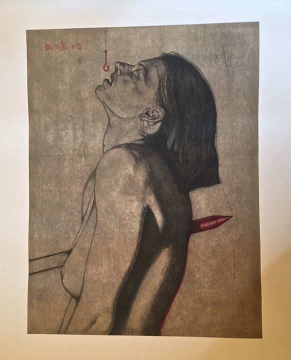 """Printmaking titled """"A Traves II"""" by Jose Fors, Original Art, Etching"""
