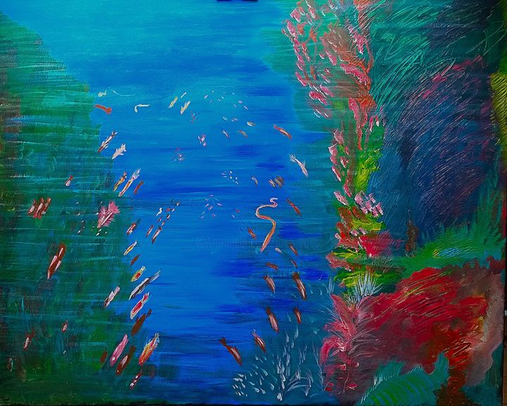 Aquario - Painting,  80x100 cm ©2018 by Jose Sousa -            aquarium, acrylique, peinture, mer, nature, environment