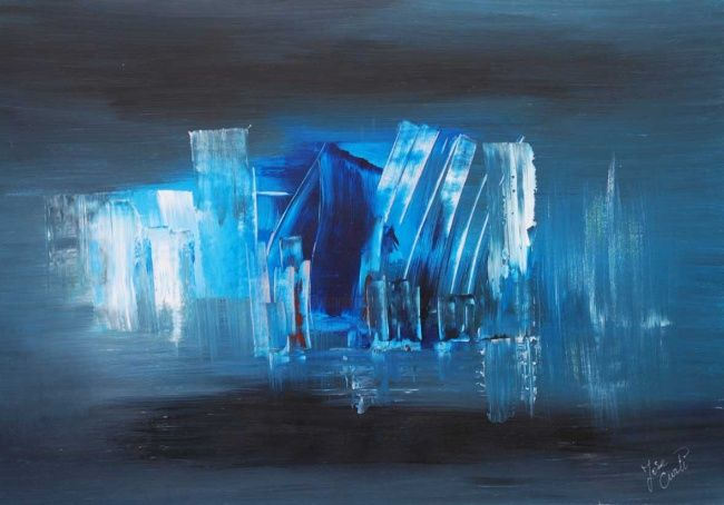 island - Painting,  146x89 cm ©2009 by Jose Curti -                            Abstract Art, bleu, abstrait
