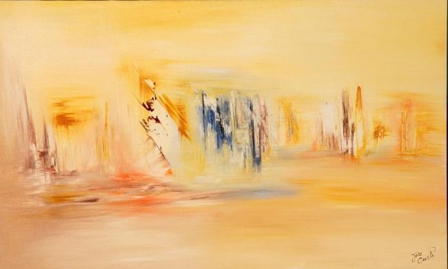 DOUCEUR DE VIVRE - Painting,  89x146 cm ©2009 by Jose Curti -                            Abstract Art, DECOUVERTE