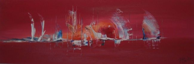 Painting,  30 x 100 cm ©2010 by Jose Curti -  Painting, Abstract Expressionism, technique mixte