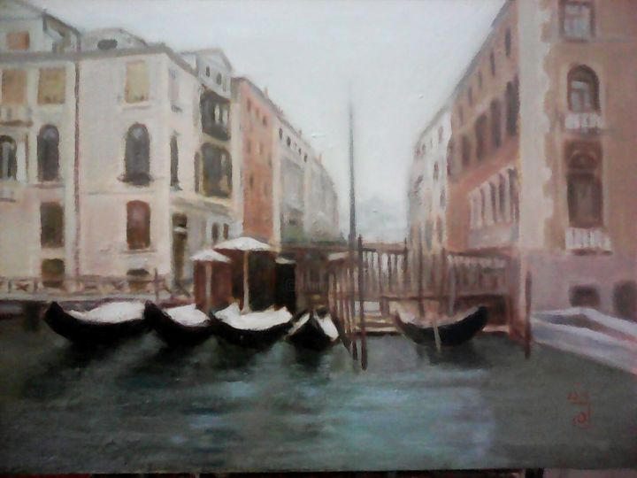 Venecia - Painting,  13x18.1x1.6 in, ©2016 by Jose Oña Jurado -                                                                                                                                                                          Impressionism, impressionism-603, Cities