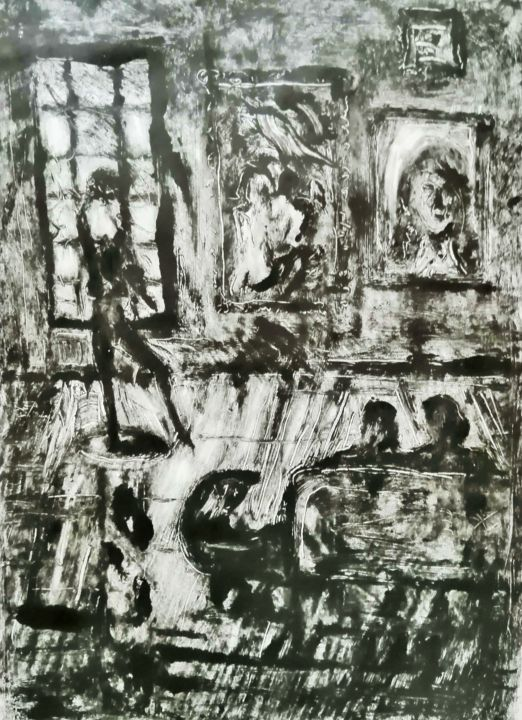 """Printmaking titled """"FIRST GALLERY VISIT."""" by Joseph Urie, Original Art, Monotype"""